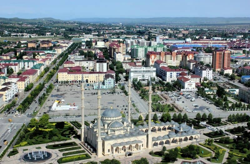 Grozny, Chechnya with the Akhmad Kadyrov mosque in the foreground Russian. Stuart Freeman photos.