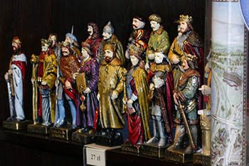 Figurines in the gift shop of the Wawel Royal Castle in Krakow