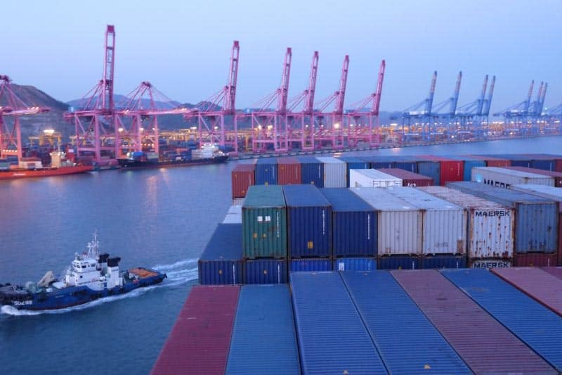 The sea of containers atop the cargo ship freighter ship.