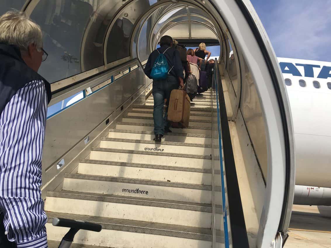 Boarding a plane in Guernsey