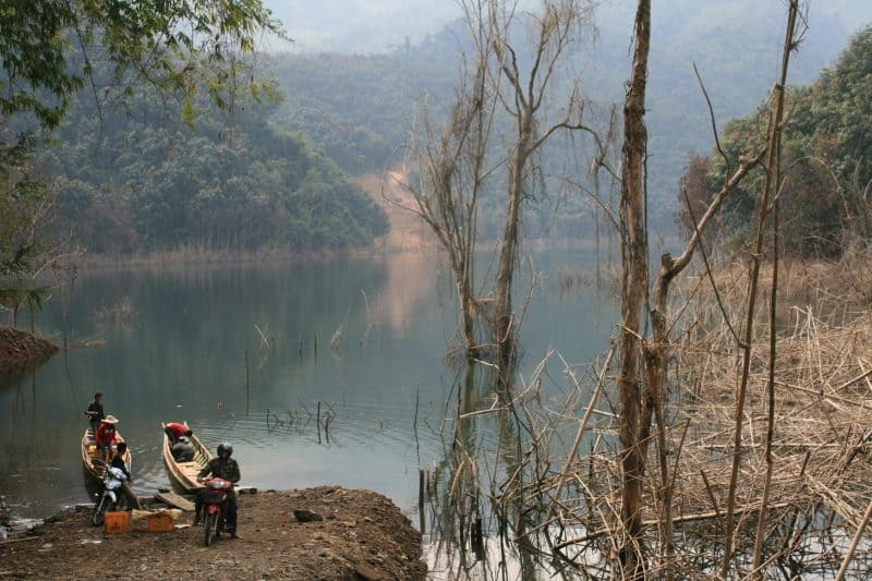Lake Nam Ngai, northern Laos, where we disembarked near the trailhead. John Henderson photos.