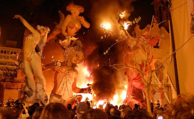 The figurines being set ablaze, many of them are stuffed with fireworks.