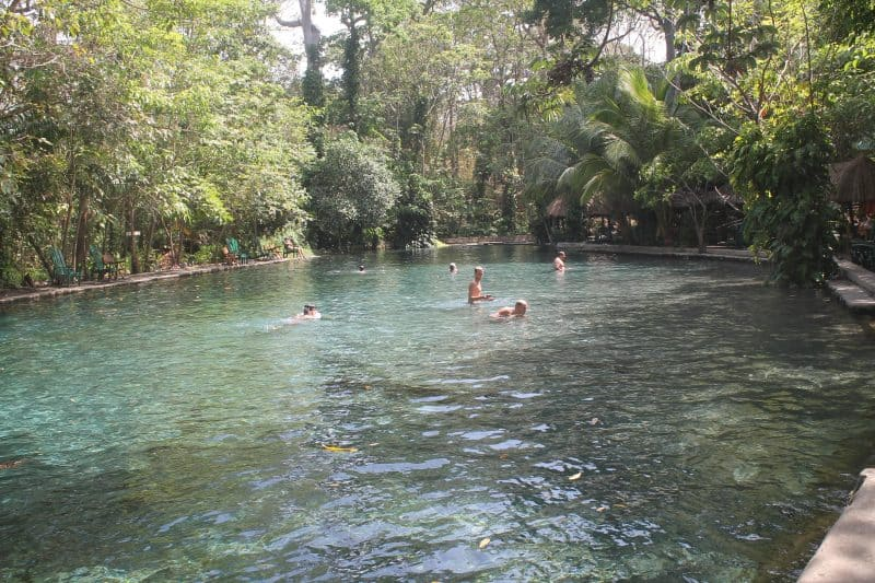 Agua de Ojo is a popular natural spring pool fed by an underground river that rushes down from the volcano Maderas on Ometepe in Nicaragua.