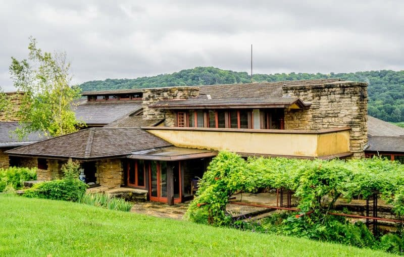 Wright's beloved Taliesin home sits on an 800-acre estate of rolling farmland not far from Madison.