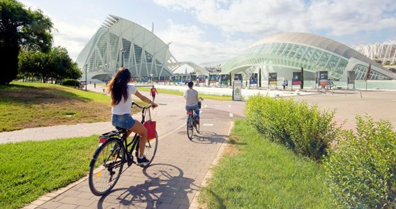Biking by Valencia's Planetarium, a common place that bikers pass en route.