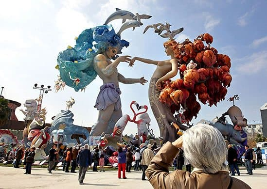 The Fallas Festival where giant figurines are set on fire for the publics entertainment.