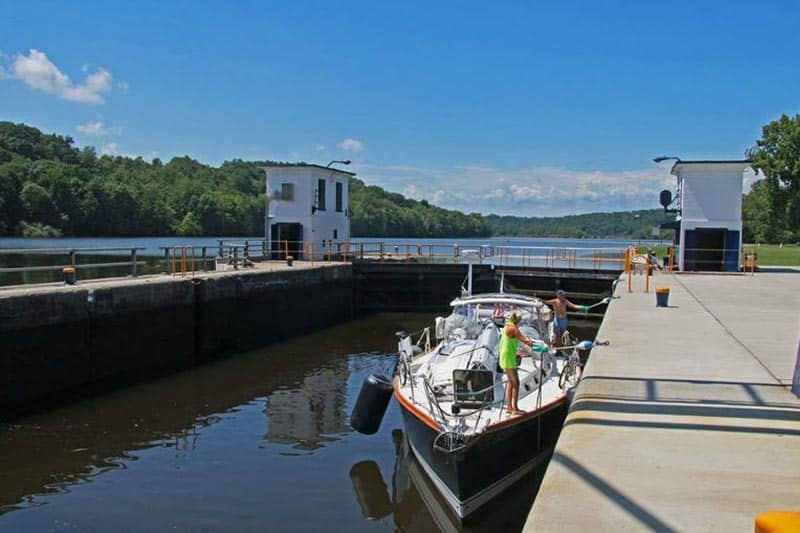 A sailboat navigates Lock Number 10 on the Erie Canal in Amsterdam, NY. FrankForte photo.