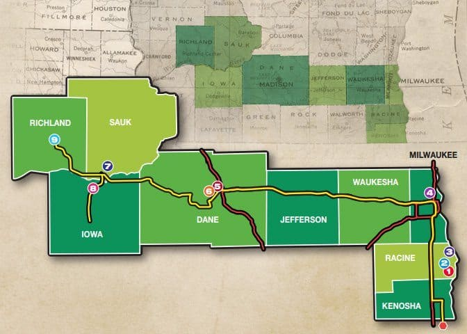 Map of the Frank Lloyd Wright trail in southern Wisconsin.