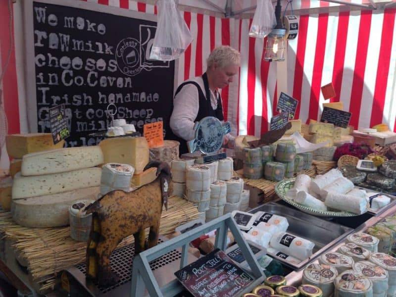 A cheese vendor at Temple Bar Open Market.