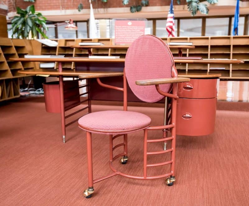 Wright designed more than 40 pieces of office furniture for SC Johnson, including the unsteady three-legged chair.