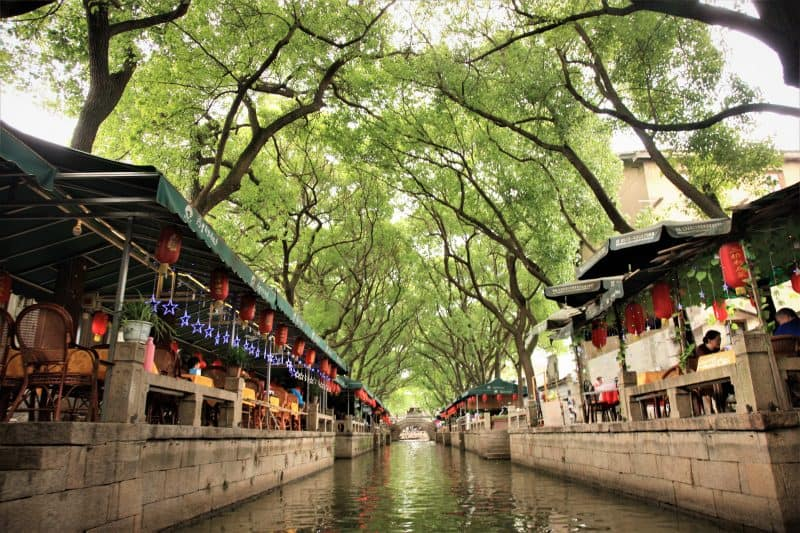 Tongli Water town's River Walk, with cafes and restaurants facing one of the city's many canals. Janis Turk photos.