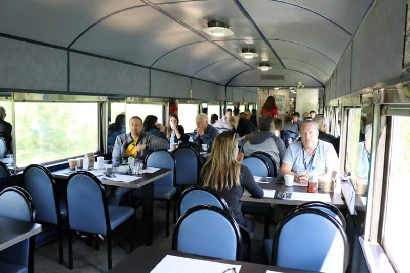 Inside the Agawa Train's dining car, a full menu is available...but bring lots of water!