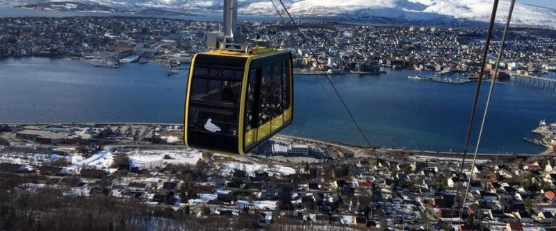 Fjellheisen. Tromso Cable Car system brings observers to a blowing, 421 meters above sea level for stunning views.