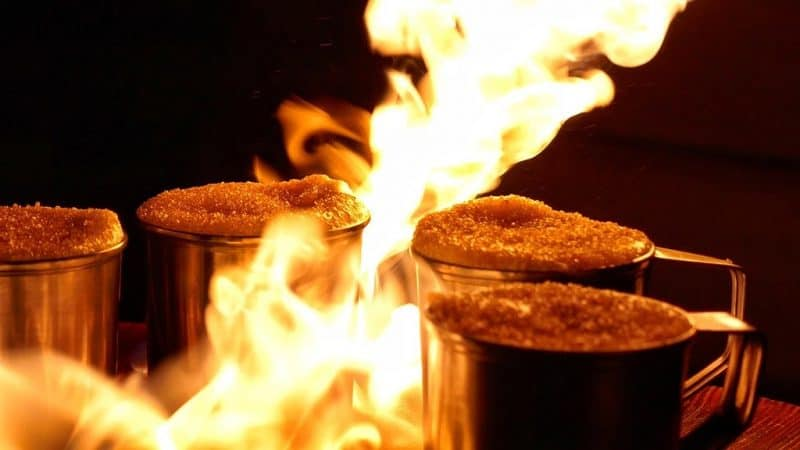 Coffee made by strapping men using blowtorches is a specialty in Lviv, Ukraine.