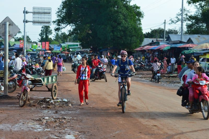 One way to get around for free is to use a bicycle. Here, biking Cambodia, a very inexpensive country to visit. Laura Ricketts photos.