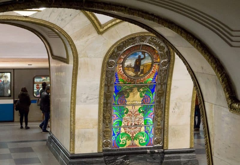 The beauty of Moscow's metro stations, aside from the stunning artwork, such as the stained glass shown here, is the fact you don't see any graffiti.