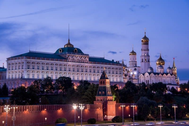 The Kremlin, shown here at dusk, is a remarkable complex of churches, palaces and monuments and includes the world's largest bell and canon.