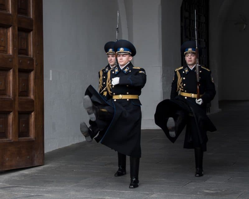 These somber faced goose-stepping guards change every hour at the Kremlin.