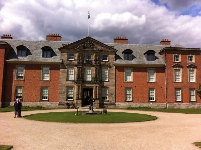 A front view of the Dunham Massey Castle.
