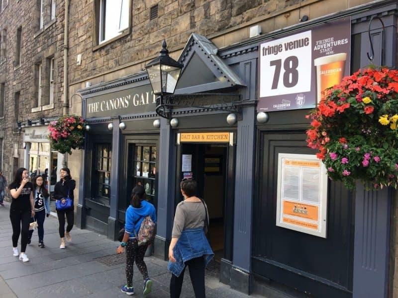 Free Fringe venue Canon's Gait, Edinburgh.