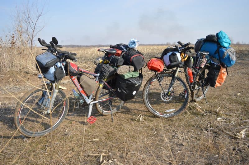 Heavily laden Bicycles, in Kazakhstan.