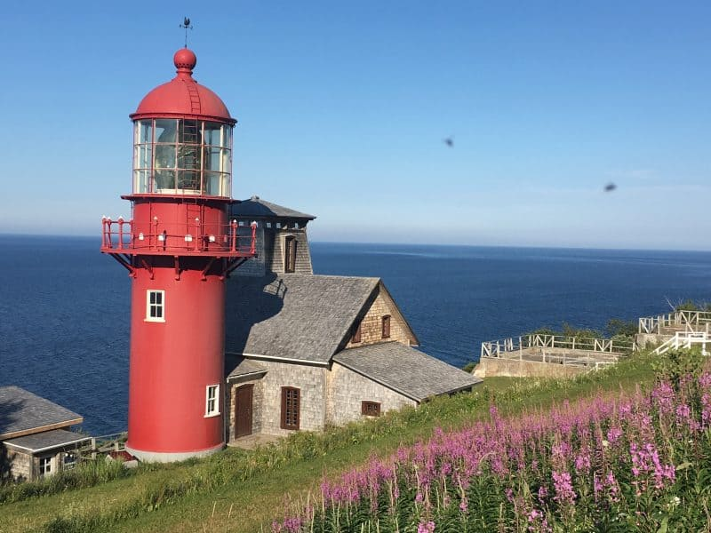 Pointe-a-la-Renommee Lighthouse is a famous picture taking spot. The lighthouse was actually moved to Quebec City and back about 700 km away!