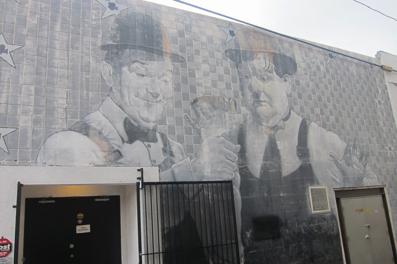 The Laurel and Hardy mural on a movie lot in Culver City.
