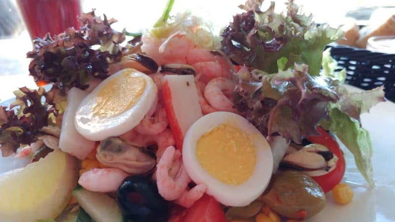 Seafood salad in Tromso.