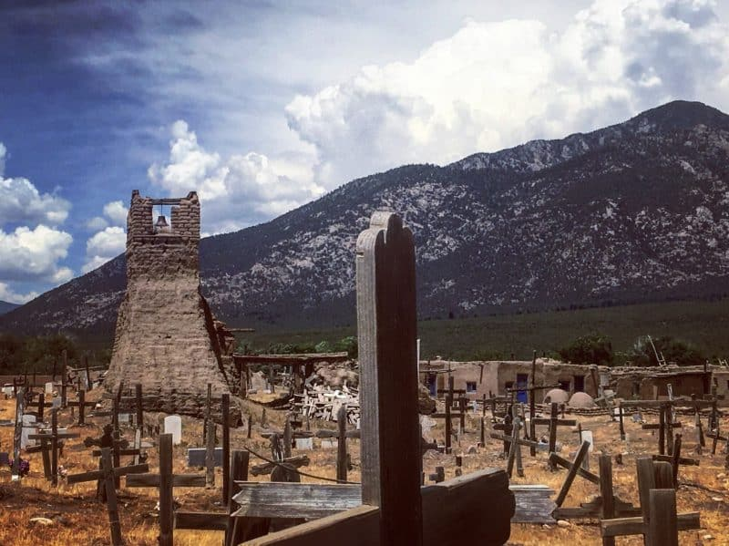 Old Indian Pueblo cemetery in Taos, NM.