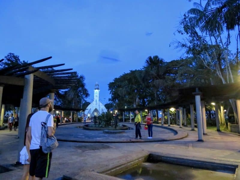 Leticia's Parque Santander at night... the parakeets were too fast for my camera, their loud chirping can be heard throughout the park.