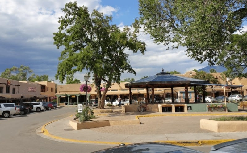 The Taos Plaza is one of the world's best people-watching locations, in Taos New Mexico. Gerald Holt photo.