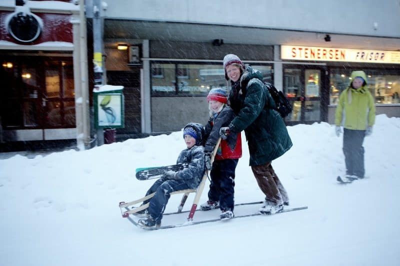 Skiing, Tromso style downtown in the city.