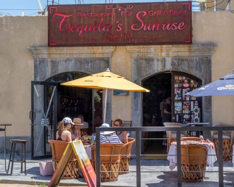 Tequila's Sunrise Restaurant and Bar is located across the street from the Hotel California in Todos Santos, Mexico.