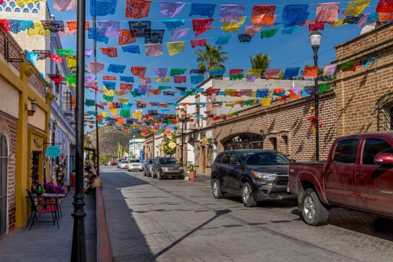 Average street lined with galleries and shops in Todos Santos, Mexico.