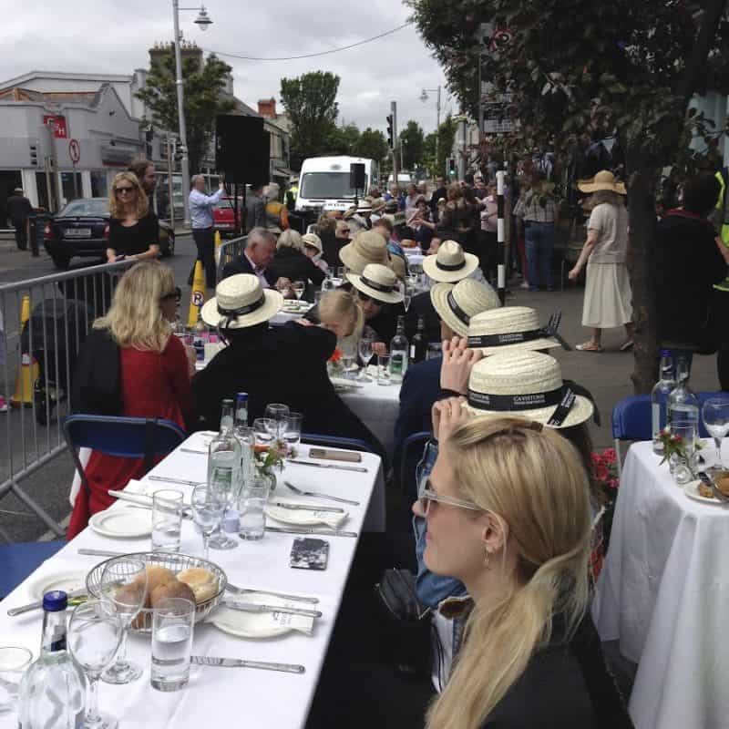 A sea of boater hats at a Bloomsday celebration near Dublin, Ireland. Faye Wolfe photos.