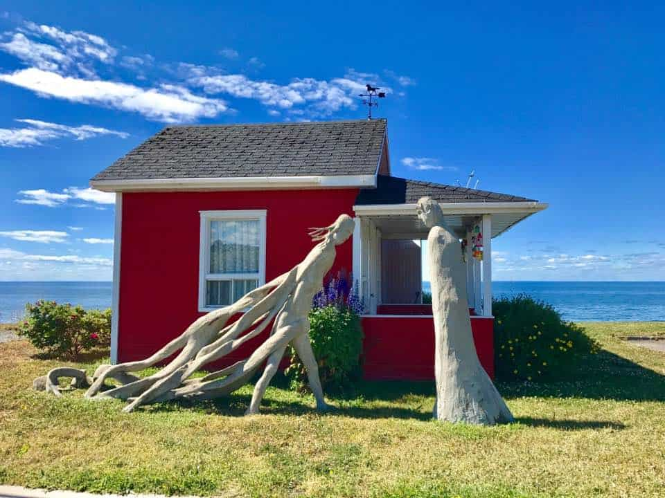 Sculpture along Route 132, the main road the circles the Gaspe Peninsula. Mary Gilman photo.