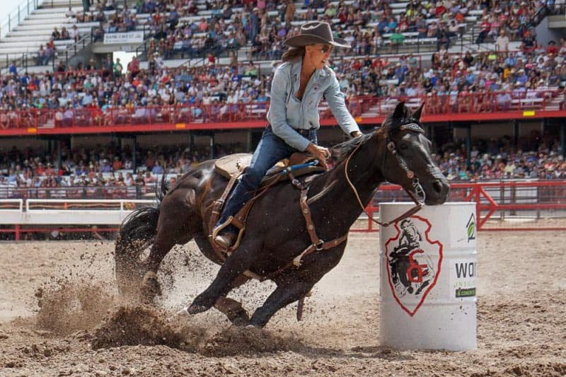 A barrel racer at Frontier Days, the biggest rodeo in the US held yearly in Cheyenne, Wyoming.