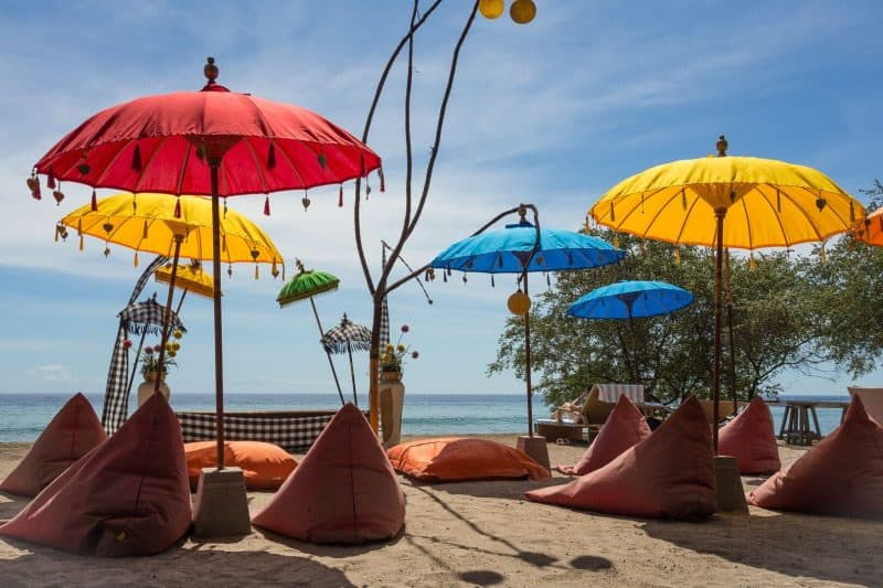 Balinese beach decorations, bean bags and umbrellas!