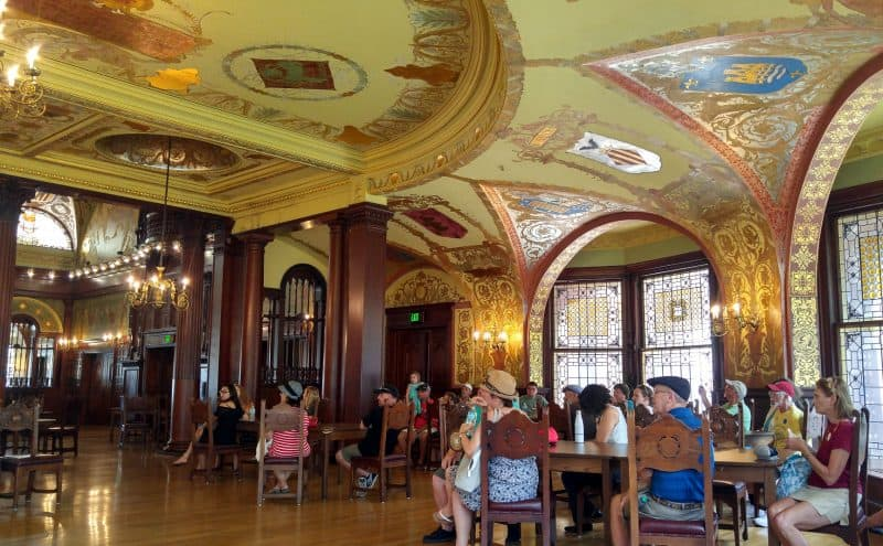 Flagler College student dining room, a rest stop during a tour of the palace-like building. St Augustine FL.