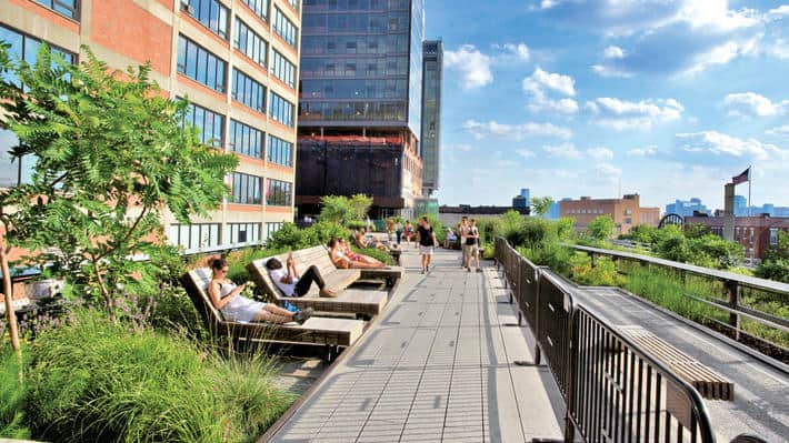 The High Line is the perfect place to lounge and relax, all while enjoying the view.