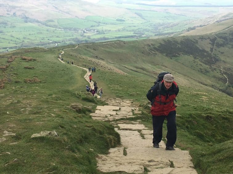 Hiking on Man Tor in the Peak District in Northern England. Max Hartshorne photo.
