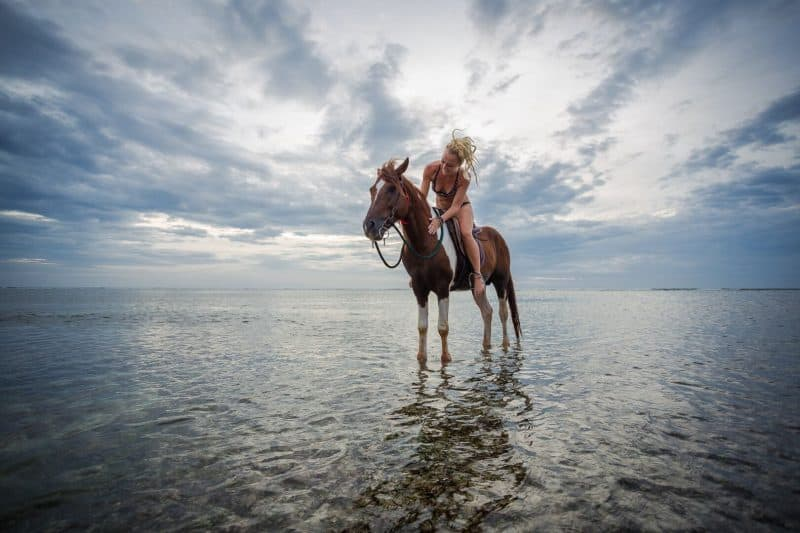 Riding horses on the beach is just one of many relaxing things you can do on Gili T, Indonesia. Billie Tyler photos.
