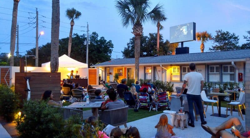 Hotel Palms movie night for guest and neighbors. Atlantic Beach, FL.