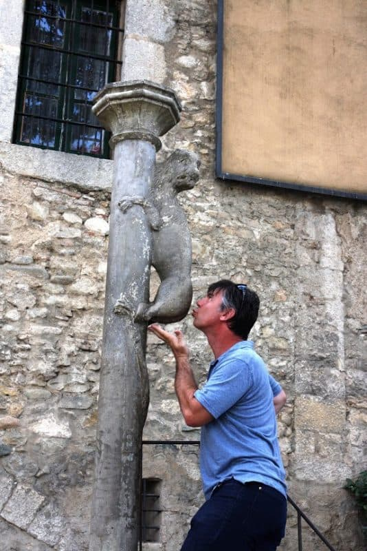 The legend? You must kiss this lion's ass, located in Girona, for good luck. Doug Schnitzspahn is taking no chances.