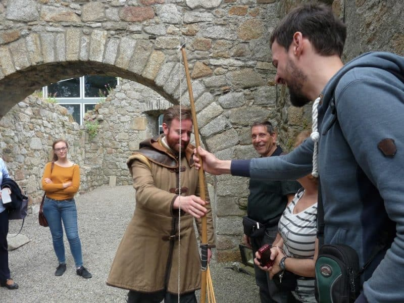 Learning about longbows at the castle.