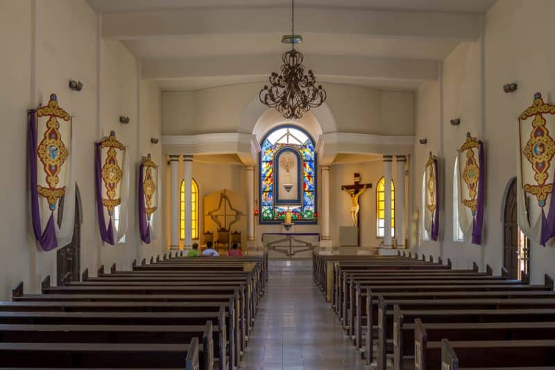Interior view of the Nuestra Señora del Pilar de Todos Santos (Our Lady of Pilar Church) located in Todos Santos, Mexico.