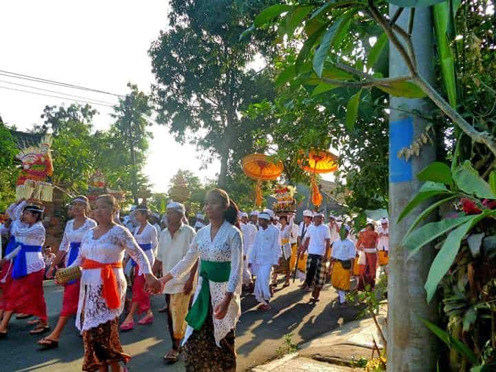 Procession to temple in Bali.
