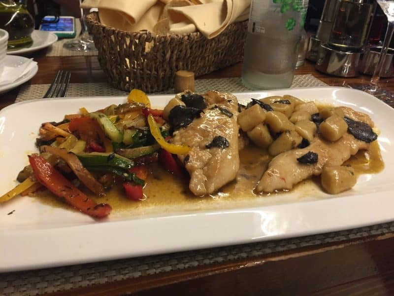 Chicken with gnocchi and truffle sauce at Restaurant Bruschetta, Zadar, Croatia.