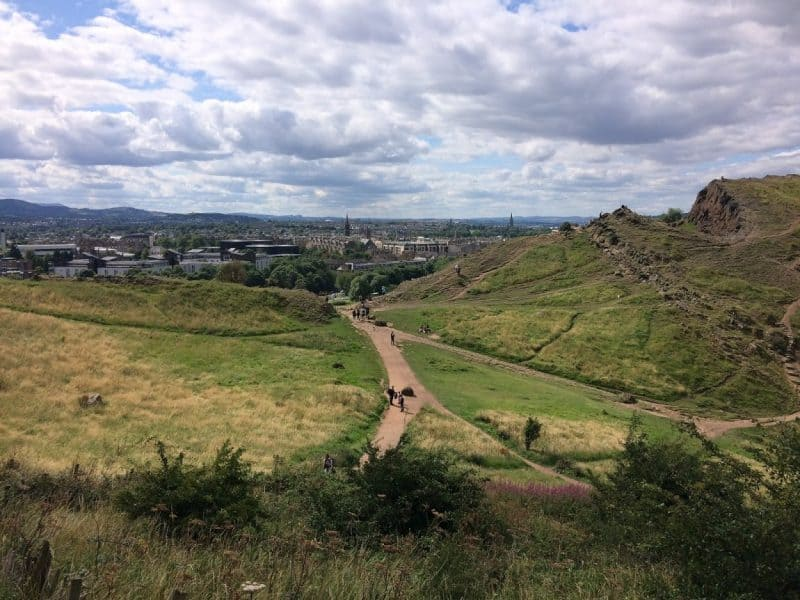 Walking up Arthur's Seat in Edinburgh, Scotland.