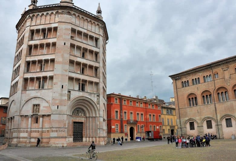 Baptistery of Parma next to the Palazzo Dalla Rosa Prati Hotel Parma Italy.